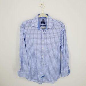 English Laundry Blue White Checkered Button Down